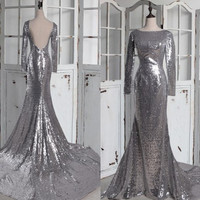 Long Sliver Sequined Prom Dresses,Backless Evening Dresses,Mermaid Prom Dresses,Bridesmaid Dresses,Homecoming Dresses