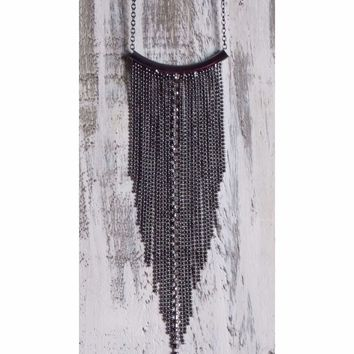 Long Chain Black Fringe Necklace