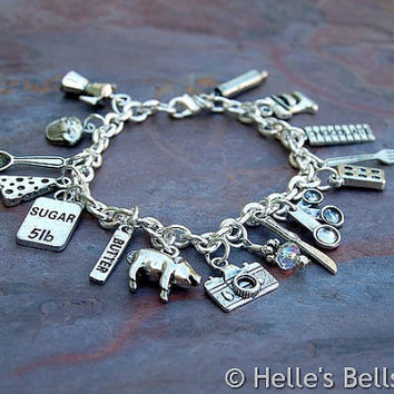 Food Blogger's (or Food Lover's) Silver Tone Charm Bracelet