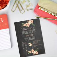 Printable Rustic Chalkboard Coral and Pink Flower bridal shower invitation