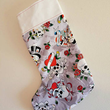 Ed - Hardy - Skull - skulls - and - roses - tattoo - goth - punk - rockabilly - pinup - spooky - Christmas - stocking