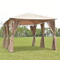 Outdoor 10'x13' Gazebo Canopy Tent Shelter Awning Steel Frame W/Walls Brown New