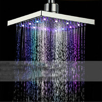 "7 Colors Automatic Changing 8"" Square Bathroom LED Light Rain Top Shower Head"