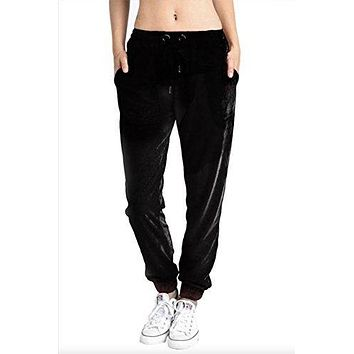 Mono B Women's Casual Pull On Velour Lounge Jogger Pants with Drawstring