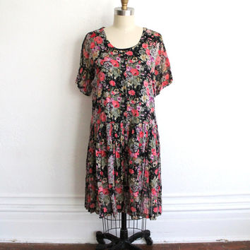 Vintage 80s Black Floral Gauzy Cotton Drop Waist Dress // Bohemian Midi Dress