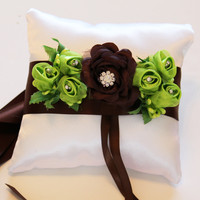 Brown and Green Ring Pillow for Dogs, Wedding Ring Bearer Pillow collar