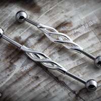 Steel twisted industrial barbell set