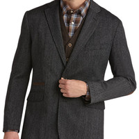 Joseph Abboud Charcoal Herringbone Modern Fit Casual Coat - Sport Coats | Men's Wearhouse