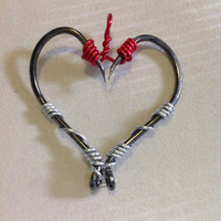 Handmade Wire Wrapped Heart Pendant  - Real fishing hooks Heart Design Valentines Day Heart Jewelry  - other colors too