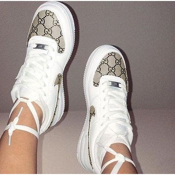 Gucci x NIKE Air Force 1 Trending Women Men Stylish Running Sport Shoes Sneakers White/Khaki Print I/A