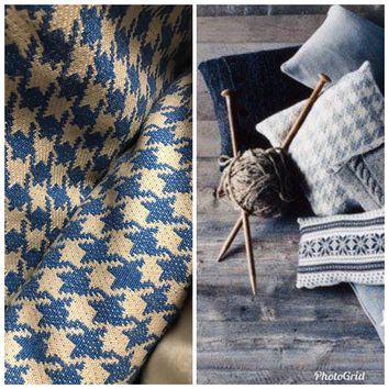 SALE! Designer Wool Eggshell Blue Houndstooth Fabric Upholstery- Made In Italy