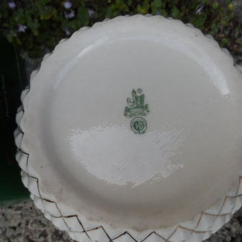 Vintage Irish Belleek porcelain 'pineapple' biscuit barrel - in original box - 1970's third green mark - Vintage Irish antique cookie jar