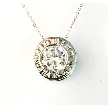 3.2CT Round Cut Russian Lab Diamond Solitaire 14K White Gold Roman Numeral Necklace