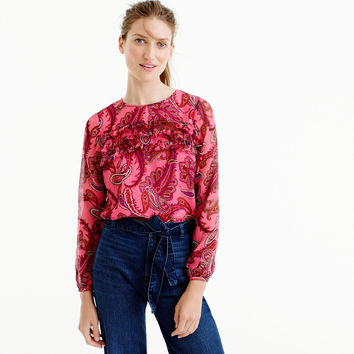 Ruffle-front chiffon top in vibrant paisley