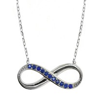 "Sterling Silver Blue Zirconia Infinity Pendant Necklace 16"" + 2"" Extender"