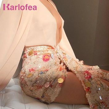 Karlofea Elegant Floral Sequined Skirts Women Chic Asymmetrical Front Drop Draped Mini Wrap Skirt Sexy Club Party Outfits Skirt