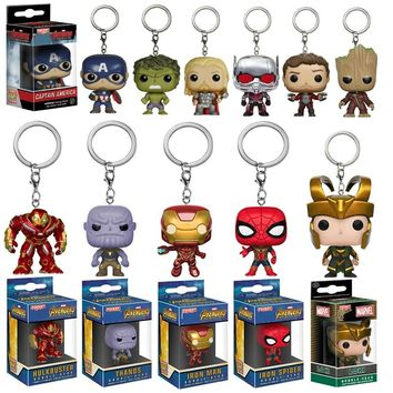 Avengers 3 Infinity War Thanos Iron Man Spiderman Vision Captain America Thor Ant Hulk Loki grootted Action Figures Keychain Toy