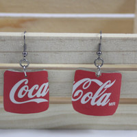Coke Cola Glass Earrings for upcycled Coke Bottle
