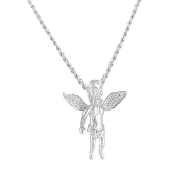 Floating Baby Angel White Gold Finish Lab Diamond Pendant & Steel Chain Necklace