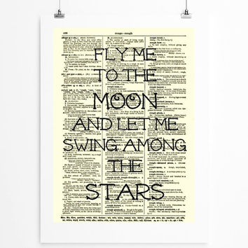 Fly Me to the Moon Art Print 1897 Dictionary Page, Wall Decor, Book Art, Sinatra Song Lyric Dictionary Art Print, Mixed Media Art