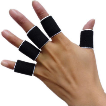 10pcs Stretchy Protective Gear Finger Guard Bands Bandage Support Wraps Arthritis Aid Straight Finger Stall Sleeve Protector (Color: Black) = 1714513924
