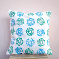 Throw pillow - turquoise blue and green Indian circles, eco friendly organic cotton cushion pillow cover