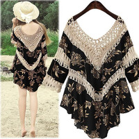 Summer Women's Fashion V-neck Patchwork Hollow Out Stylish One Piece Dress [6351443460]