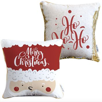 Merry Christmas Holiday Pillow with White & Gold Reversible Sequins