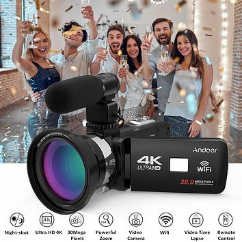 """Andoer 4K Ultra HD WiFi Digital Video Camera Camcorder DV 16X Zoom 3.0""""LCD Touchscreen Night Vision with Hot Shoe Mount Full Set"""