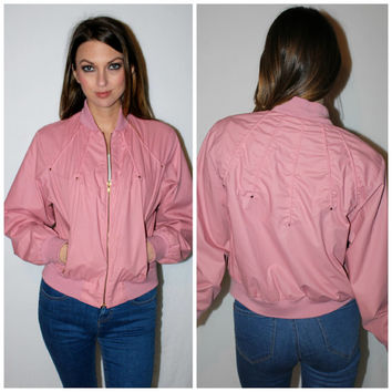 Vintage PINK LADIES Track Jacket, 80s Dusty Rose Gold Zipper Sporty Jacket