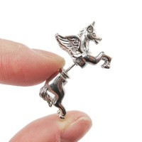 3D Unicorn Pegasus Horse Animal Fake Gauge Earrings in Shiny Silver from DOTOLY