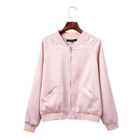 2016 Retro V neck Pilot Jacket Women Autumn Shinny Color Bomber Coat Outerwear Tops Femme Casual 2 colors-in Basic Jackets from Women's Clothing & Accessories on Aliexpress.com | Alibaba Group