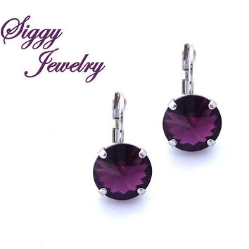 Swarovski® Crystal Amethyst Earrings, 8mm Or 12mm Round, Deep Purple, February Birthstone, Drops or Studs, Assorted Finishes, Gift Packaged