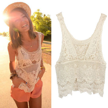 2015 Super Deal, 1PC Women Summer Blouses Hippie Bohemian Vintage Blusas Chic Crochet Lace Sexy Tank Top Casual Beach Girl Shirt