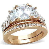 Women's Stainless Steel 316 Rose Gold Emerald Cut Zirconia Wedding Ring Set Size 5-10