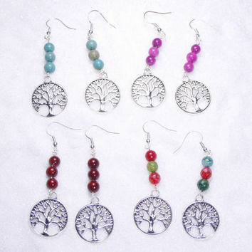 Tree of life earrings, Bohemian earrings, Celtic jewelry, Spiritual jewelry, Agate earrings, Jade earrings, Amazonite earrings, Zen jewelry