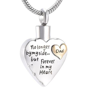 KLH9980 Eternally Loved Unisex No Longer by My Side But Forever in My Heart Dad&Mom Cremation Ashes Urn Pendant Necklace