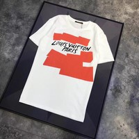 """Louis Vutitton"" Unisex Casual Graffiti Letter Print Couple Short Sleeve T-shirt Top Tee"