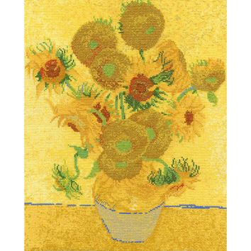 """11.5""""X14.5"""" 14 Count Van Gogh Sunflowers Counted Cross Stitch Kit"""