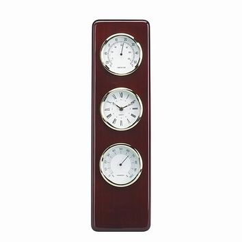Personalized Free Engraving Cherry Wood Finish Desk Weather Thermometer Hygrometer Clock