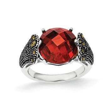 Sterling Silver Red CZ and Marcasite Ring