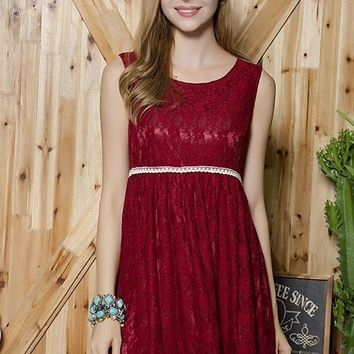 Lace Tunic Dress - Crimson