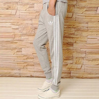 """Adidas"" Clover Simple Stripe Women Casual Long Pants Systole Foot Sweatpants"