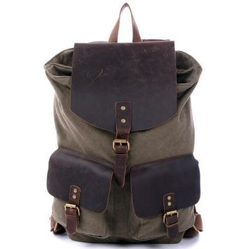 BLUESEBE UNISEX WAXED CANVAS WITH LEATHER BACKPACK 1819-AG