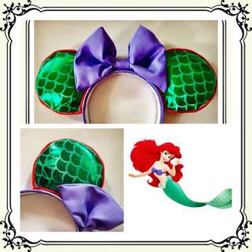 Mermaid disney ears, ariel minnie ears, Ariel disney ears, little mermaid ears, mermaid Minnie Mouse mickey ears, little mermaid mouse ears