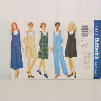 Butterick 5642 Maternity Classics (c. 1998) Misses' Sizes 12, 14 and 16, Maternity Clothes, Jumper, Jumpsuit, Easy Sewing, Sewing Pattern