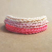 Pink ombre bracelet, beige to pink. Set of 3 knitted cable bracelets