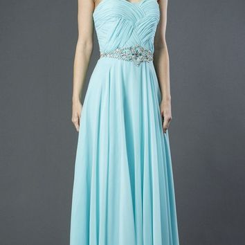 Aqua Sweetheart Neckline Long Prom Dress Strapless