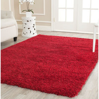 Safavieh California Cozy Solid Red Shag Area Bedroom Rug (5'3 x 7'6)