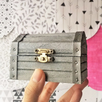 Gunmetal Mini Treasure Chest - Rustic Wooden Box - Valentine Gift Box - Storage Trunk - Doll Trunk - Jewelry Box - Keepsake Box